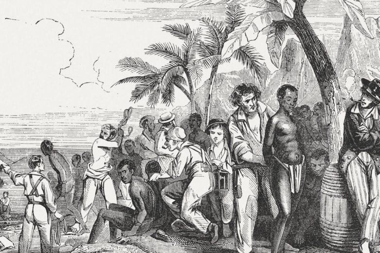 Ilustración de un mercado de esclavos en la costa africana en el siglo XIX (1855).