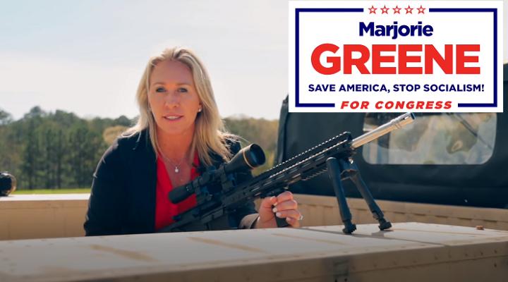 Captura de pantalla de un anuncio de la campaña de Marjorie Greene (YouTube).